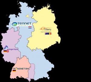 Deutschlands Regelzonen mit Übertragungsnetzbetreiber