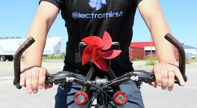 Drill-Turbine am Fahrrad